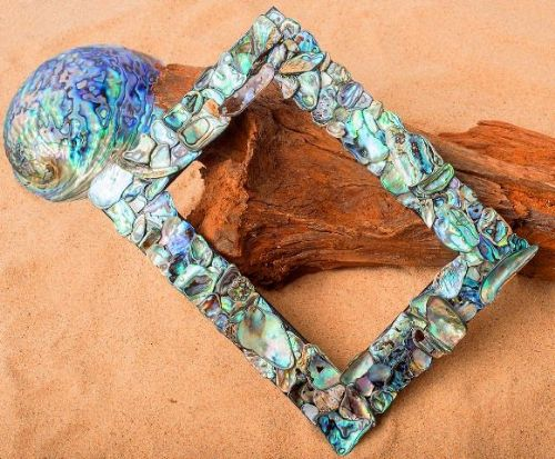 "Rectangle Paua Mosaic Frame  6""x4"""